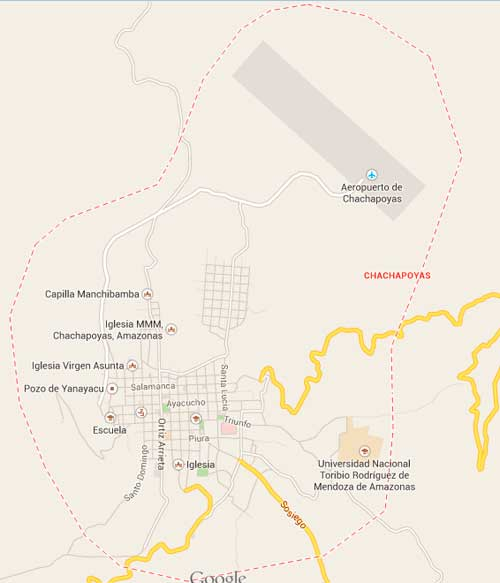 Map of Chachapoyas